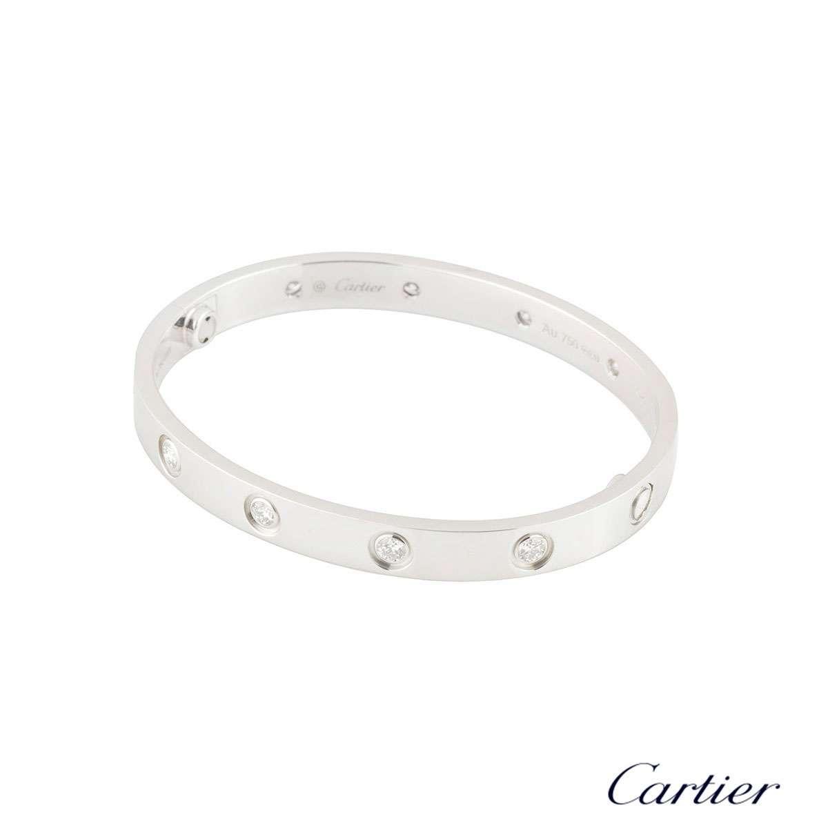 Cartier White Gold Full Diamond Love Bracelet Size 16 B6040716